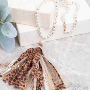 "NWT Leopard Fabric Tassel Necklace & Pearl 24"""